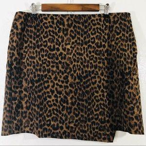 Ann Taylor Leopard Print Asymmetrical Mini Skirt